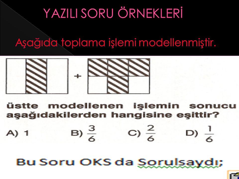 YAZILI SORU ÖRNEKLERİ Aşağıda toplama işlemi modellenmiştir.