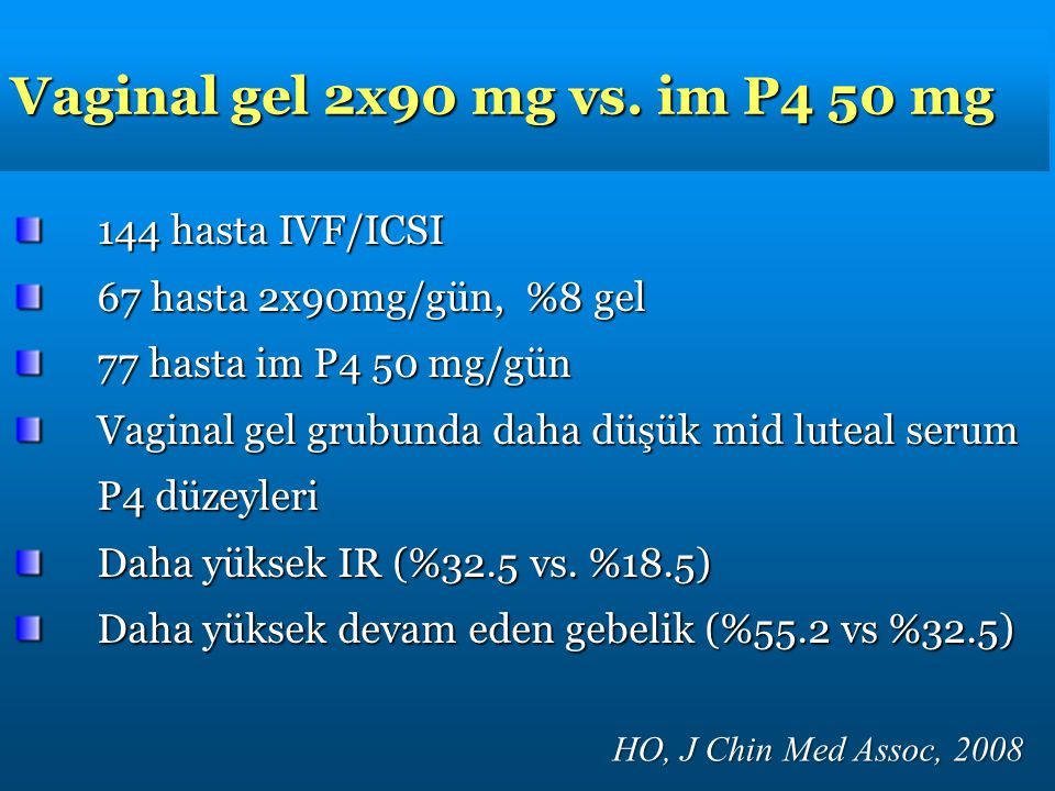 Vaginal gel 2x90 mg vs. im P4 50 mg