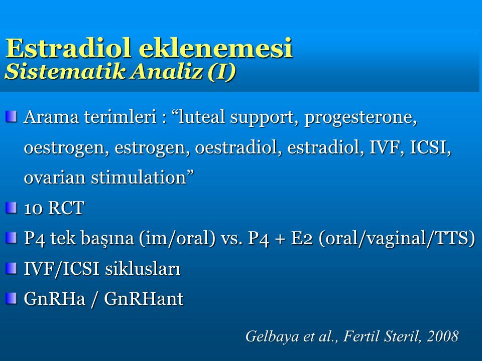 Estradiol eklenemesi Sistematik Analiz (I)