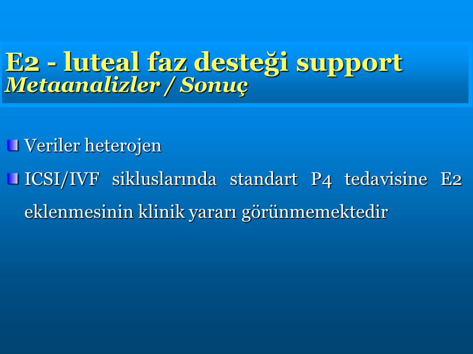 E2 - luteal faz desteği support Metaanalizler / Sonuç