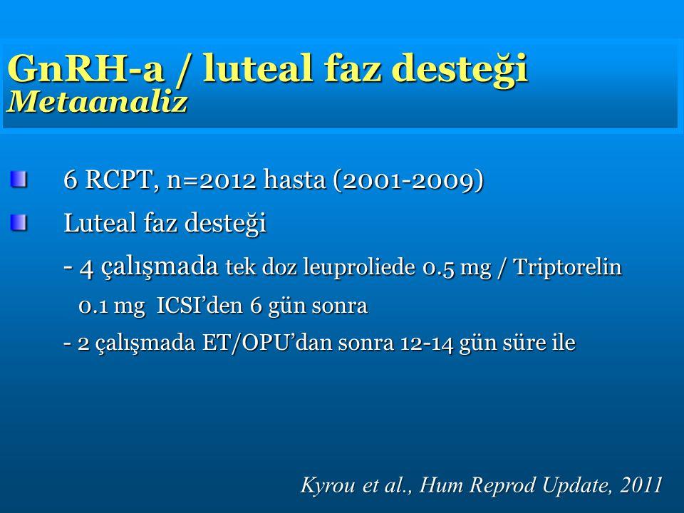 GnRH-a / luteal faz desteği Metaanaliz