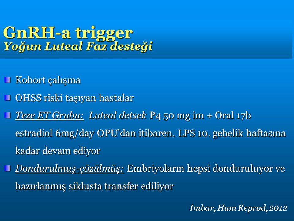 GnRH-a trigger Yoğun Luteal Faz desteği