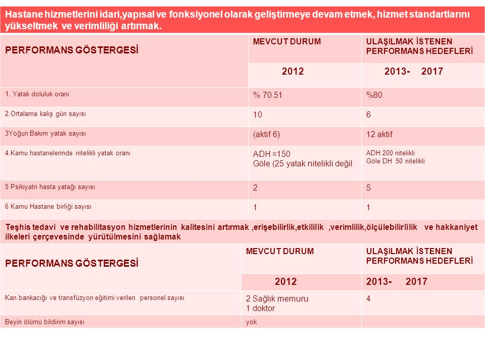 PERFORMANS GÖSTERGESİ 2012 2013- 2017
