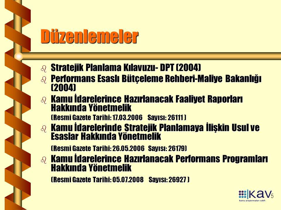 Düzenlemeler Stratejik Planlama Kılavuzu- DPT (2004)