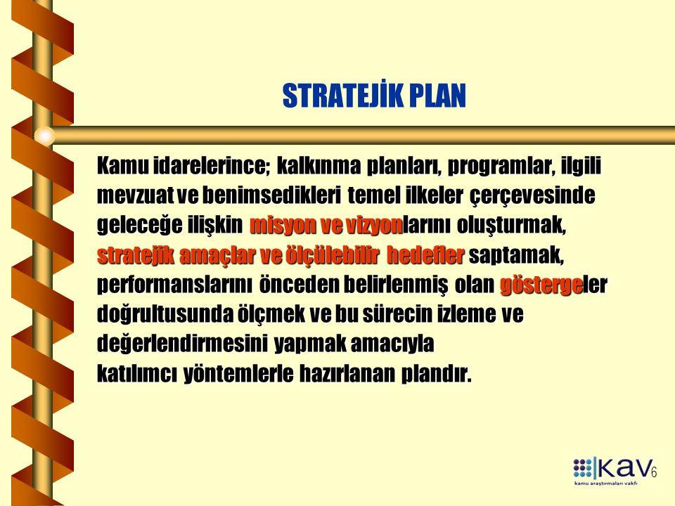 STRATEJİK PLAN Kamu idarelerince; kalkınma planları, programlar, ilgili. mevzuat ve benimsedikleri temel ilkeler çerçevesinde.