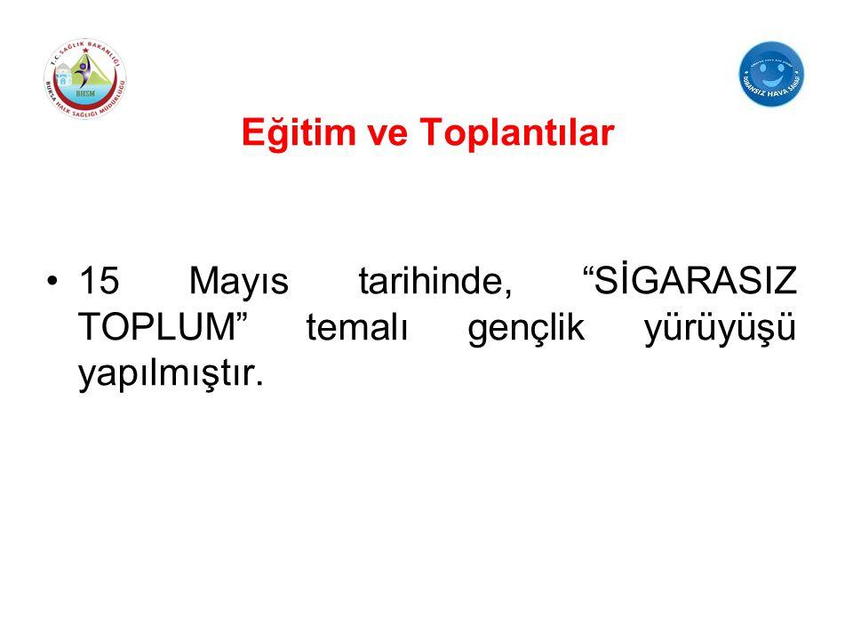 Eğitim ve Toplantılar 15 Mayıs tarihinde, SİGARASIZ TOPLUM temalı gençlik yürüyüşü yapılmıştır.