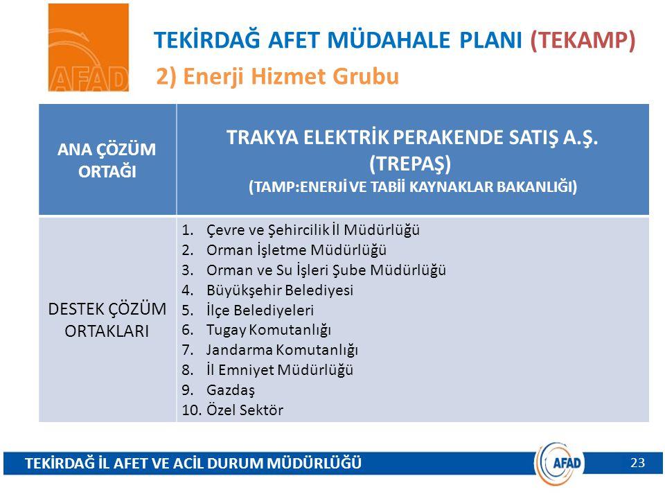 TEKİRDAĞ AFET MÜDAHALE PLANI (TEKAMP) 2) Enerji Hizmet Grubu
