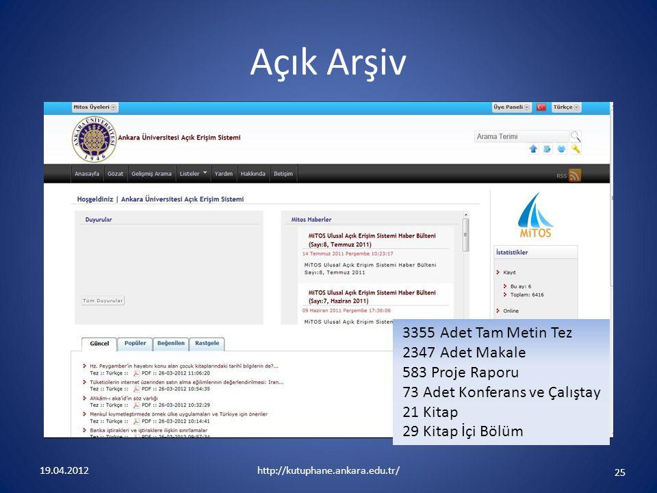 Açık Arşiv 3355 Adet Tam Metin Tez 2347 Adet Makale 583 Proje Raporu 73 Adet Konferans ve Çalıştay 21 Kitap 29 Kitap İçi Bölüm.