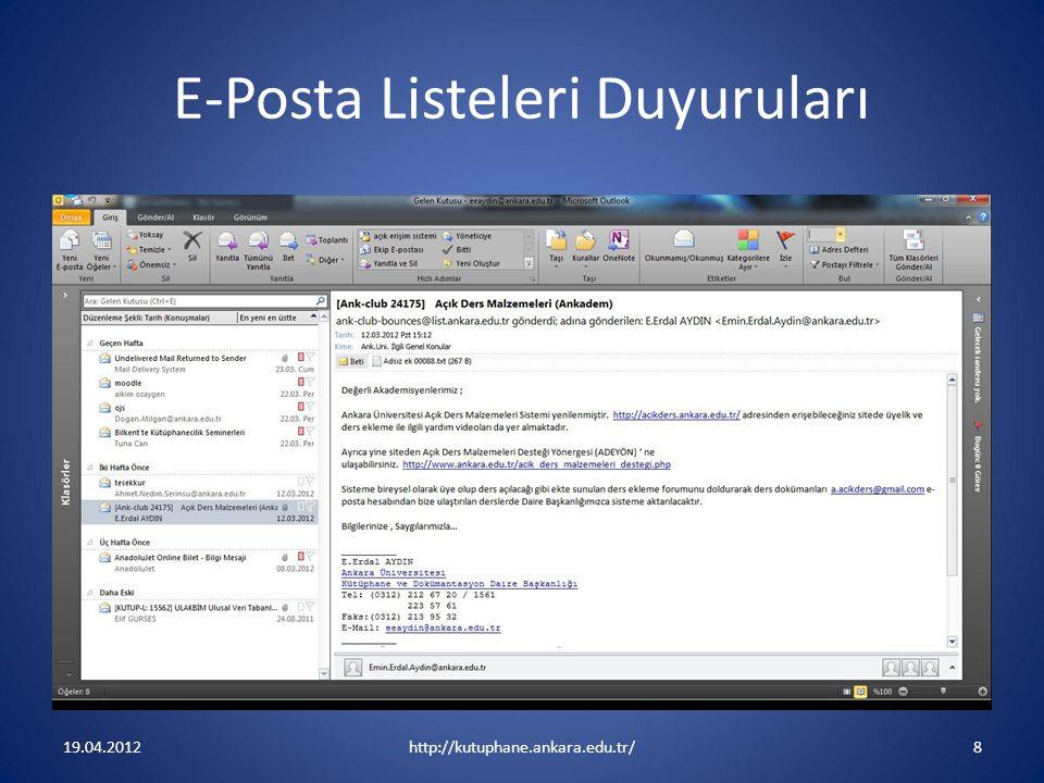 E-Posta Listeleri Duyuruları