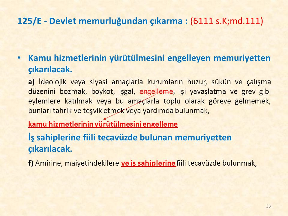 125/E - Devlet memurluğundan çıkarma : (6111 s.K;md.111)