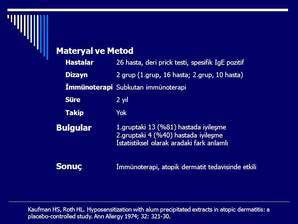 Materyal ve Metod Bulgular Sonuç Hastalar Dizayn İmmünoterapi Süre