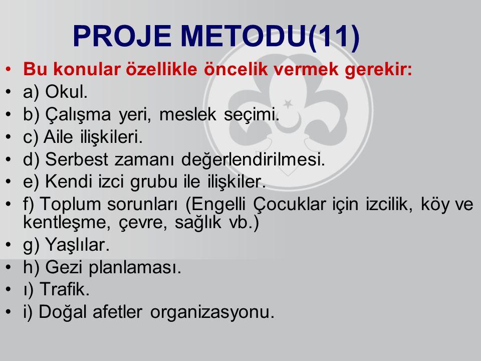 PROJE METODU(11) Bu konular özellikle öncelik vermek gerekir: a) Okul.