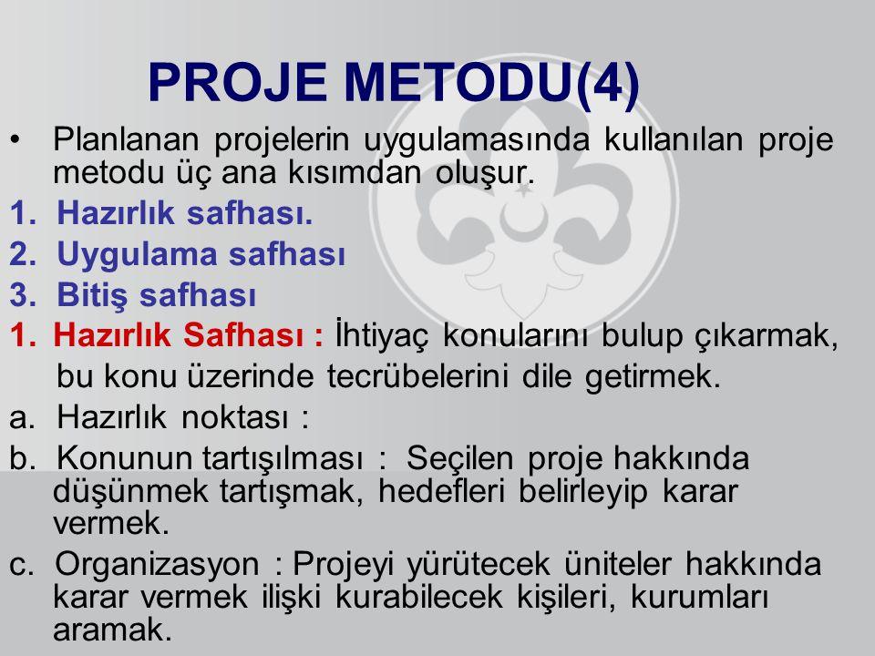 PROJE METODU(4) Planlanan projelerin uygulamasında kullanılan proje metodu üç ana kısımdan oluşur. 1. Hazırlık safhası.