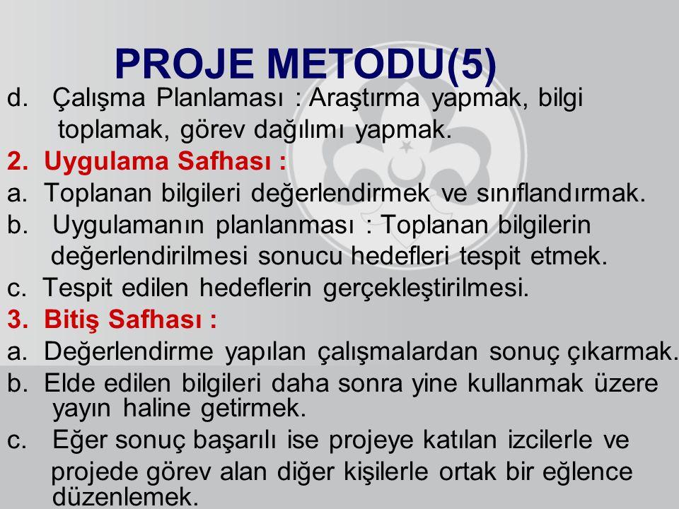 PROJE METODU(5) Çalışma Planlaması : Araştırma yapmak, bilgi