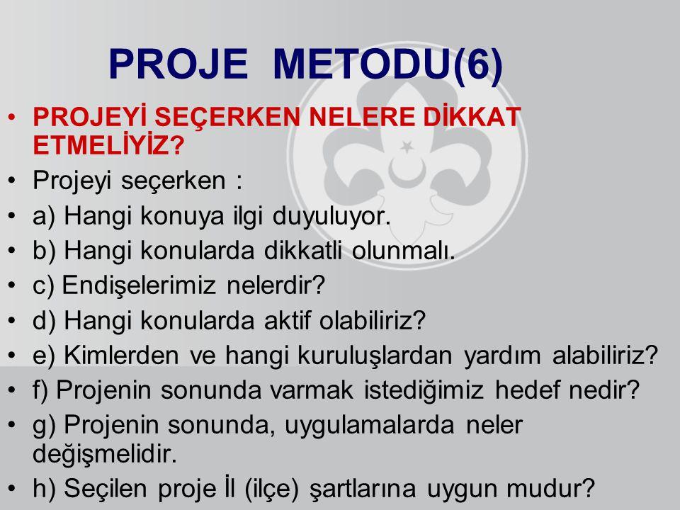PROJE METODU(6) PROJEYİ SEÇERKEN NELERE DİKKAT ETMELİYİZ