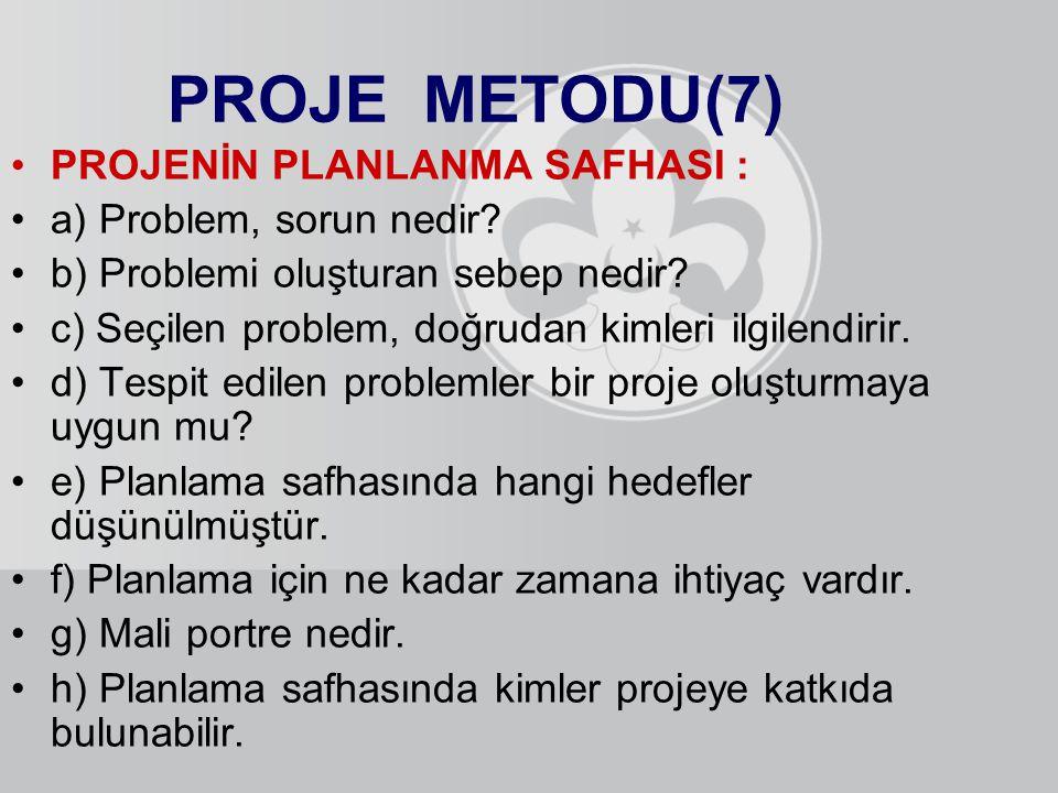 PROJE METODU(7) PROJENİN PLANLANMA SAFHASI : a) Problem, sorun nedir