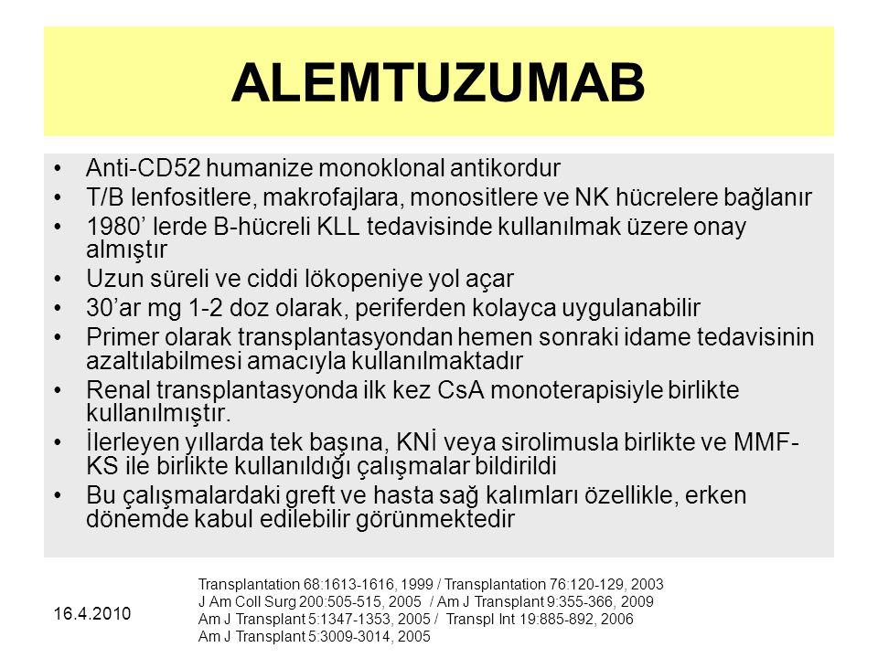 ALEMTUZUMAB Anti-CD52 humanize monoklonal antikordur