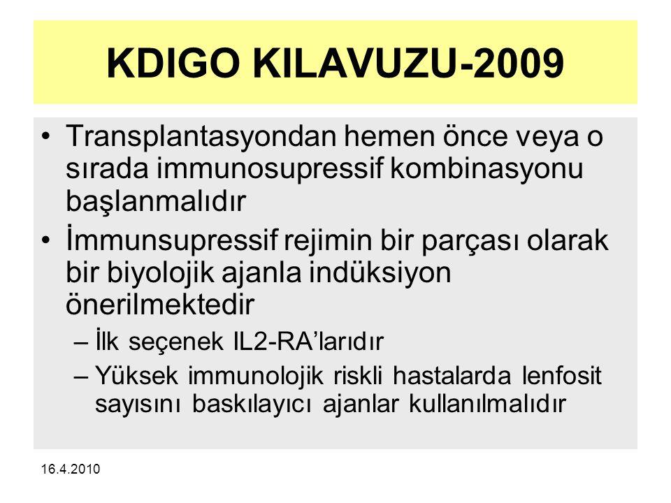 KDIGO KILAVUZU-2009 Transplantasyondan hemen önce veya o sırada immunosupressif kombinasyonu başlanmalıdır.