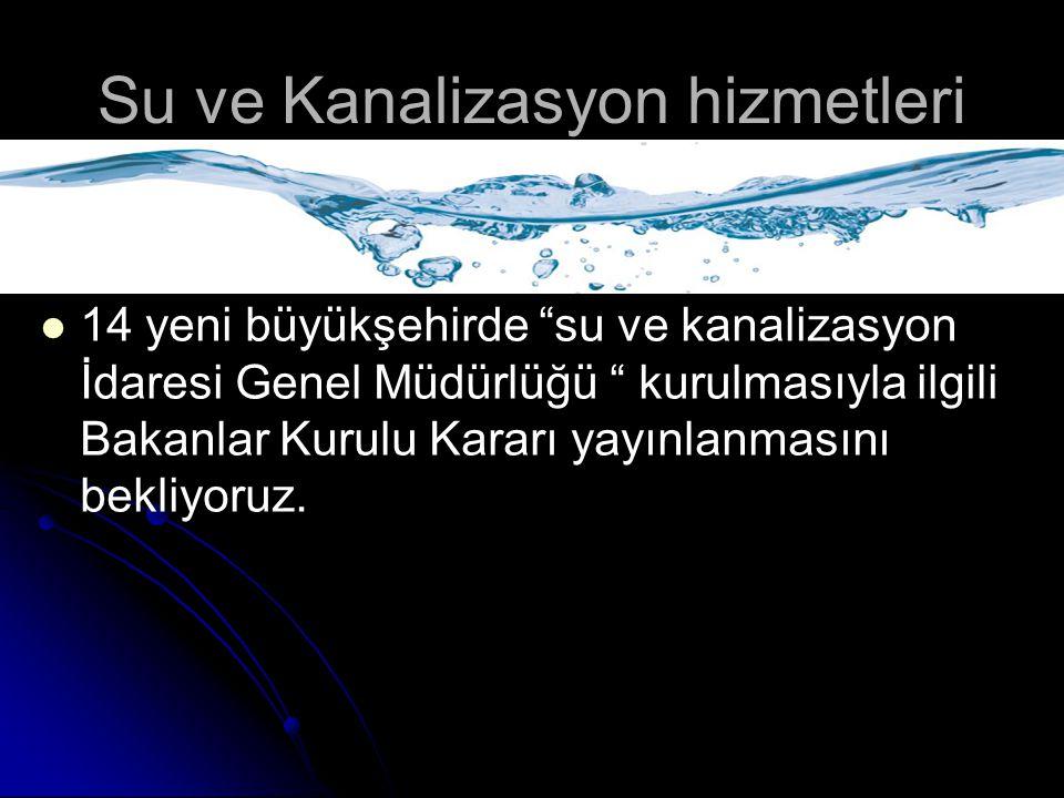 Su ve Kanalizasyon hizmetleri