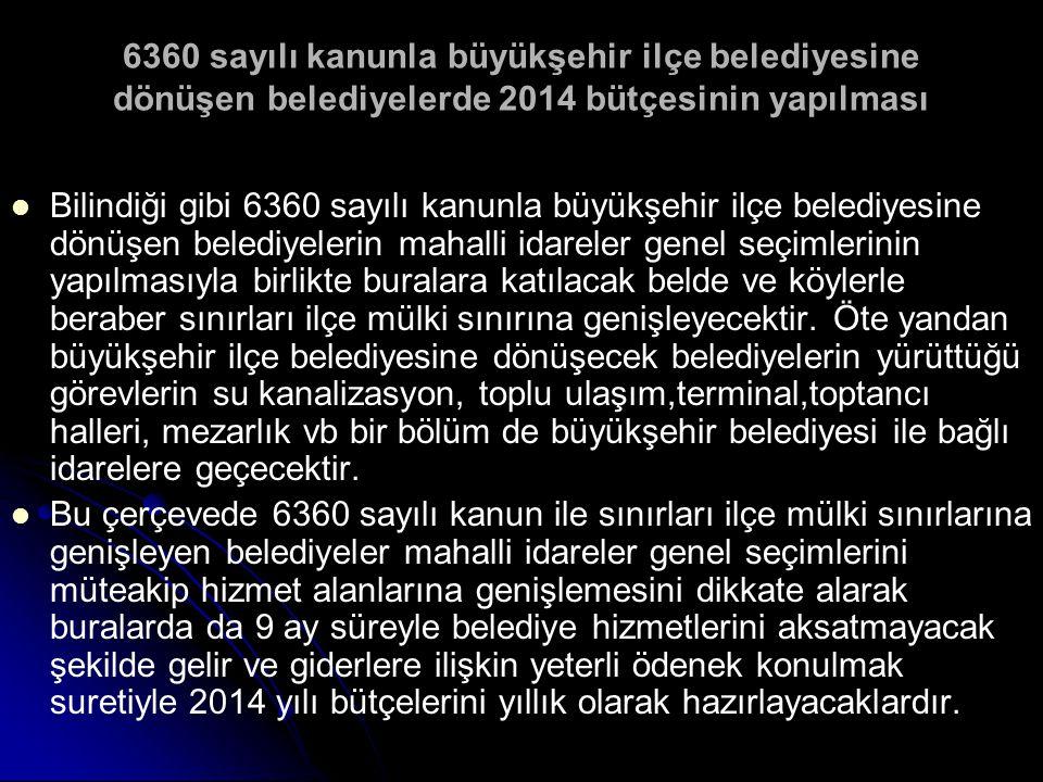 6360 sayılı kanunla büyükşehir ilçe belediyesine dönüşen belediyelerde 2014 bütçesinin yapılması