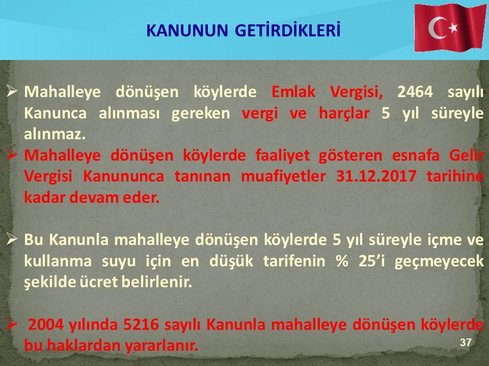 KANUNUN GETİRDİKLERİ Mahalleye dönüşen köylerde Emlak Vergisi, 2464 sayılı Kanunca alınması gereken vergi ve harçlar 5 yıl süreyle alınmaz.