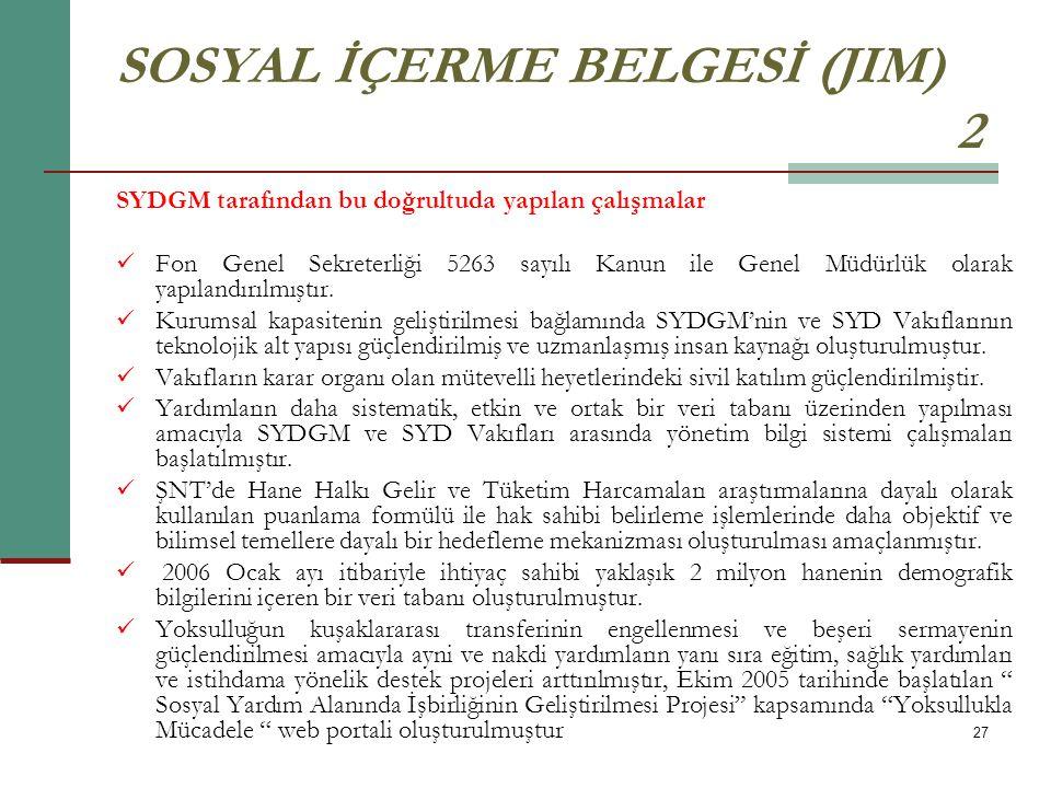 SOSYAL İÇERME BELGESİ (JIM) 2