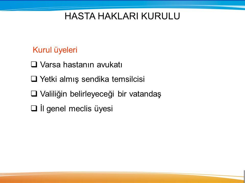 HASTA HAKLARI KURULU Kurul üyeleri Varsa hastanın avukatı