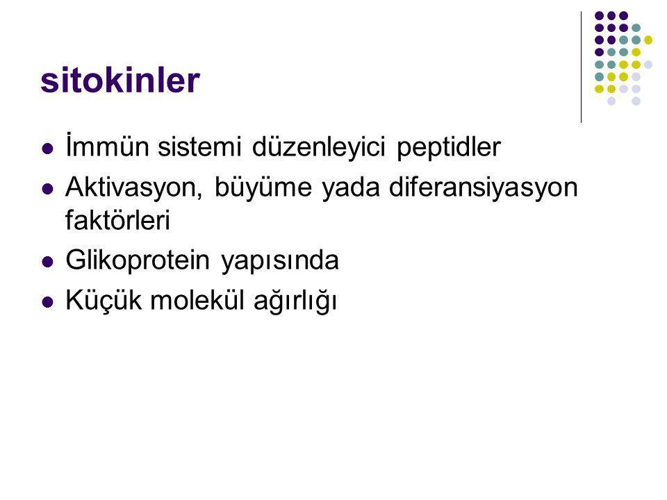 sitokinler İmmün sistemi düzenleyici peptidler