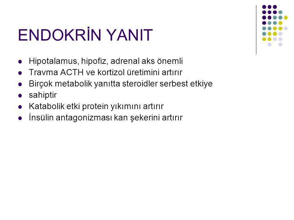 ENDOKRİN YANIT Hipotalamus, hipofiz, adrenal aks önemli