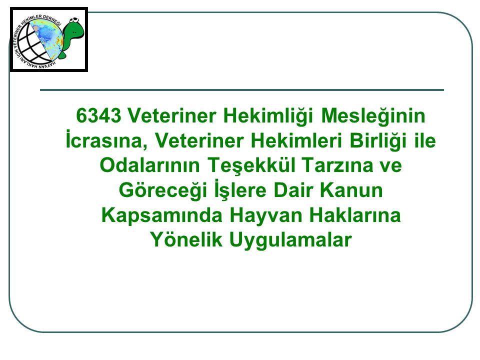 6343 Veteriner Hekimliği Mesleğinin İcrasına, Veteriner Hekimleri Birliği ile Odalarının Teşekkül Tarzına ve Göreceği İşlere Dair Kanun Kapsamında Hayvan Haklarına Yönelik Uygulamalar