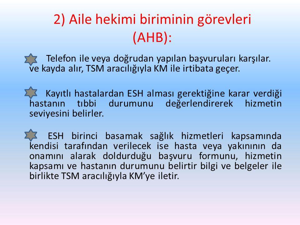 2) Aile hekimi biriminin görevleri (AHB):