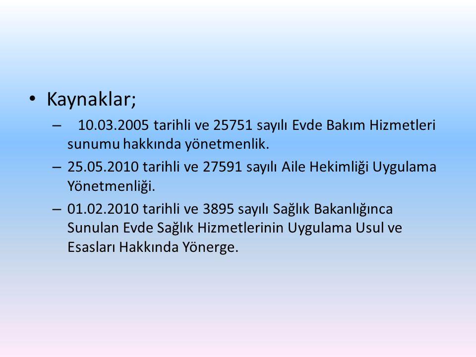 Kaynaklar; 10.03.2005 tarihli ve 25751 sayılı Evde Bakım Hizmetleri sunumu hakkında yönetmenlik.