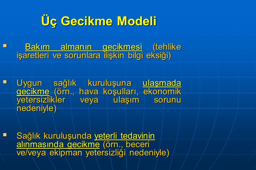 Üç Gecikme Modeli Bakım almanın gecikmesi (tehlike işaretleri ve sorunlara ilişkin bilgi eksiği)