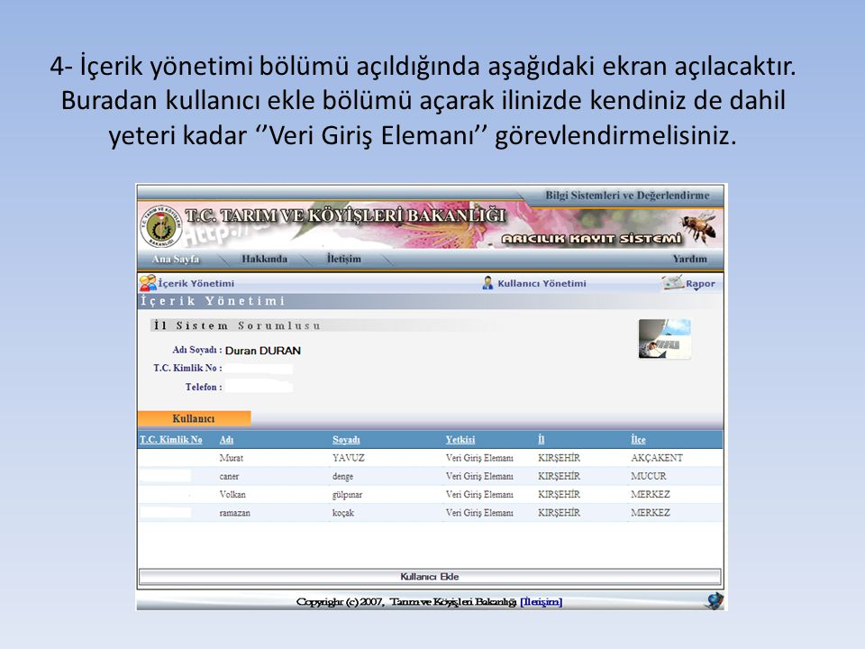 4- İçerik yönetimi bölümü açıldığında aşağıdaki ekran açılacaktır