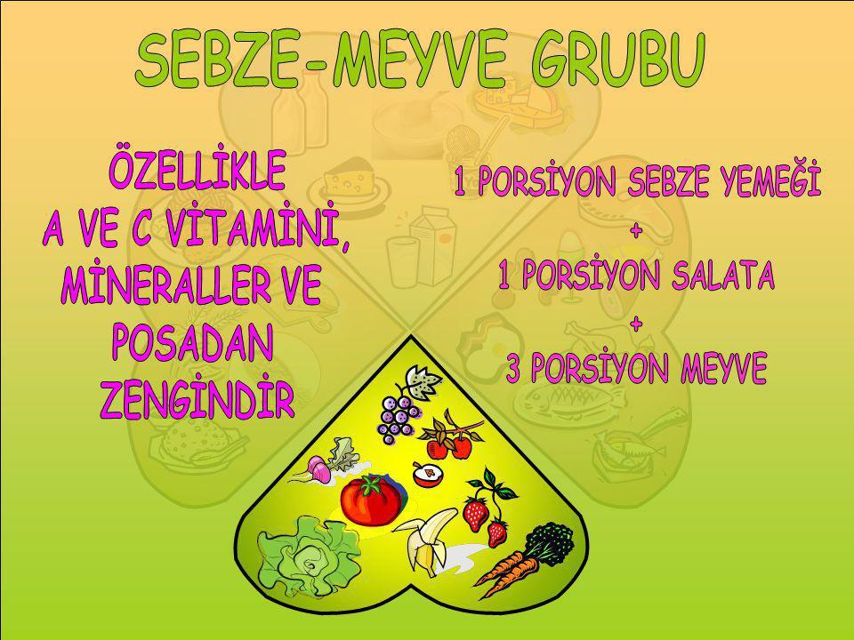 SEBZE-MEYVE GRUBU 1 PORSİYON SEBZE YEMEĞİ + 1 PORSİYON SALATA