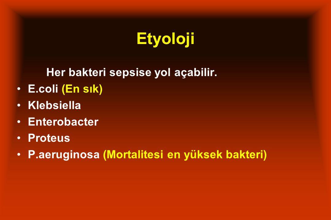 Etyoloji Her bakteri sepsise yol açabilir. E.coli (En sık) Klebsiella