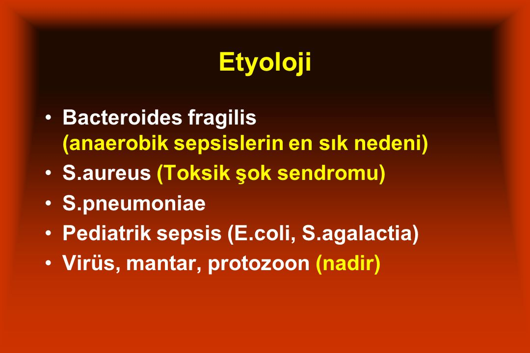 Etyoloji Bacteroides fragilis (anaerobik sepsislerin en sık nedeni)