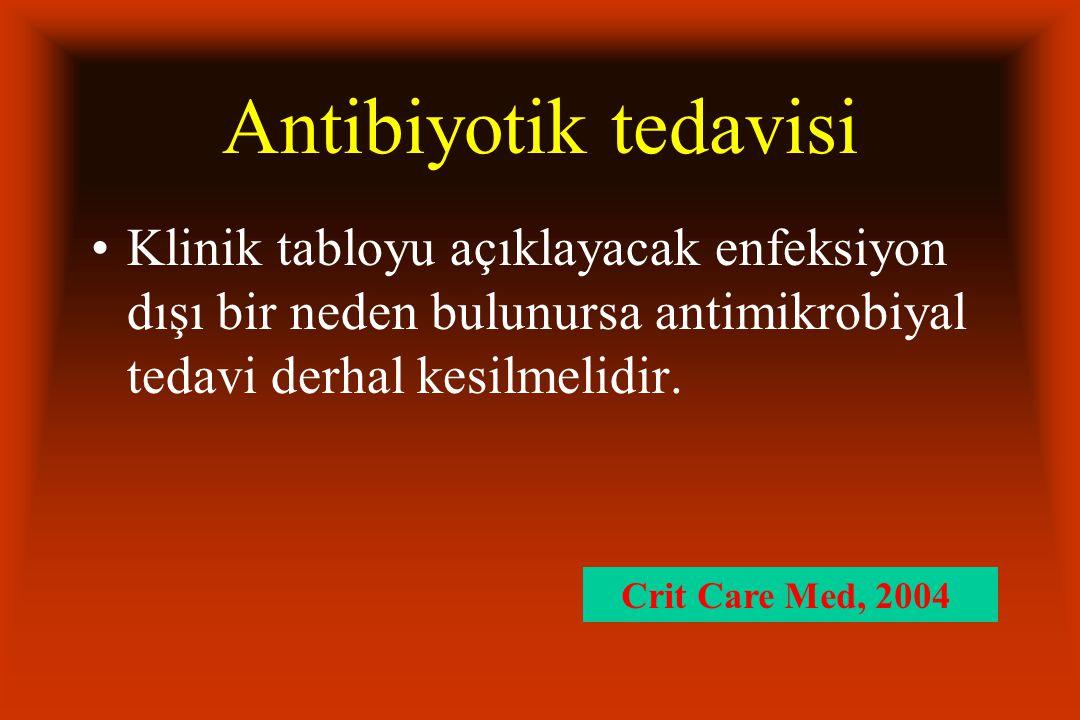 Antibiyotik tedavisi Klinik tabloyu açıklayacak enfeksiyon dışı bir neden bulunursa antimikrobiyal tedavi derhal kesilmelidir.