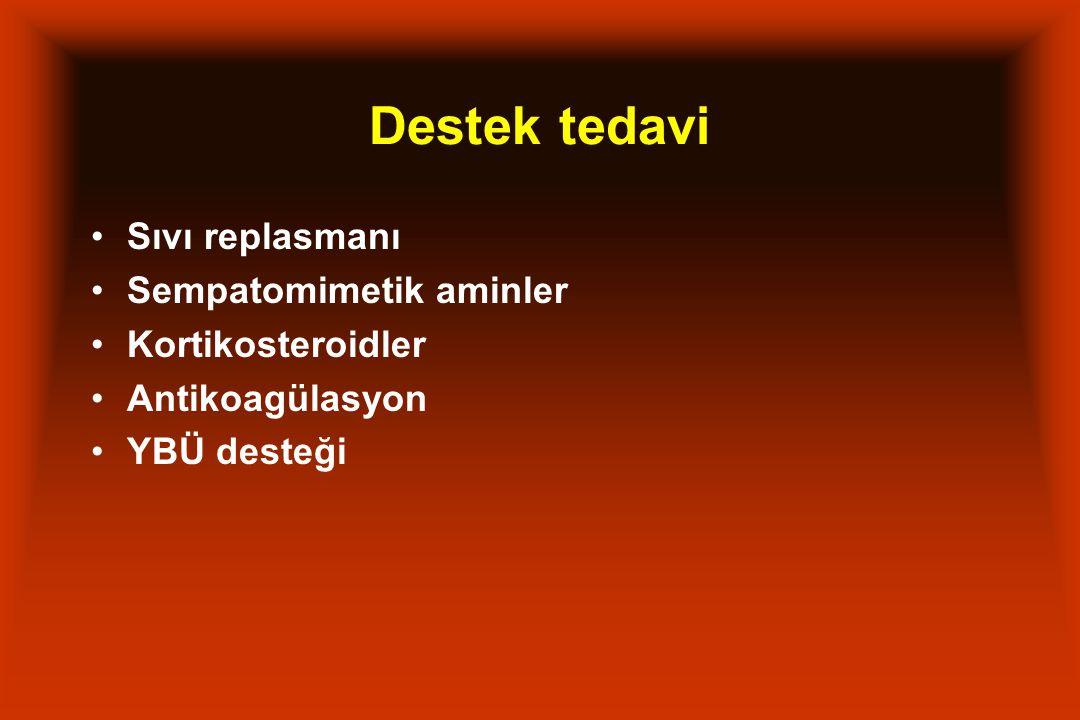 Destek tedavi Sıvı replasmanı Sempatomimetik aminler Kortikosteroidler