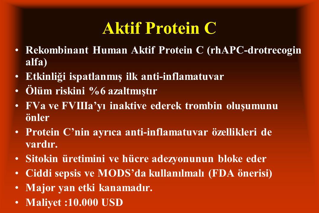 Aktif Protein C Rekombinant Human Aktif Protein C (rhAPC-drotrecogin alfa) Etkinliği ispatlanmış ilk anti-inflamatuvar.