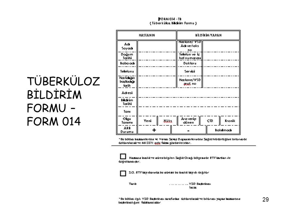 TÜBERKÜLOZ BİLDİRİM FORMU – FORM 014