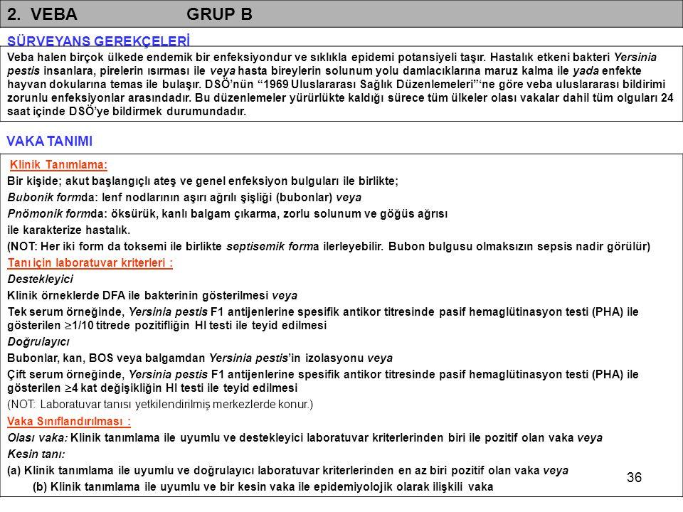 2. VEBA GRUP B SÜRVEYANS GEREKÇELERİ