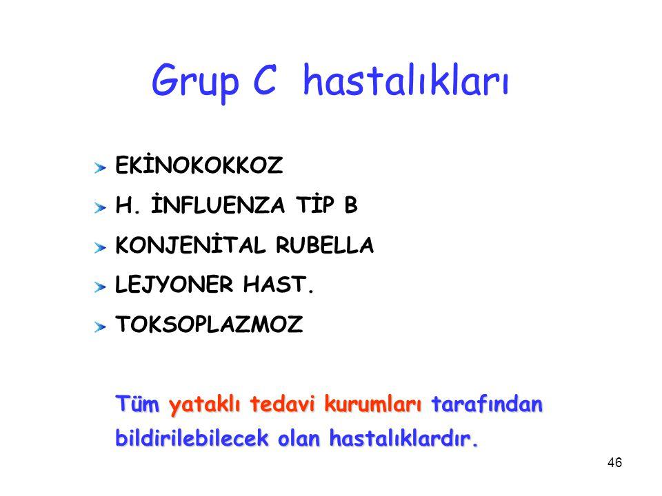 Grup C hastalıkları EKİNOKOKKOZ H. İNFLUENZA TİP B KONJENİTAL RUBELLA