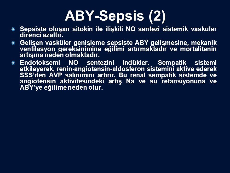 ABY-Sepsis (2) Sepsiste oluşan sitokin ile ilişkili NO sentezi sistemik vasküler direnci azaltır.