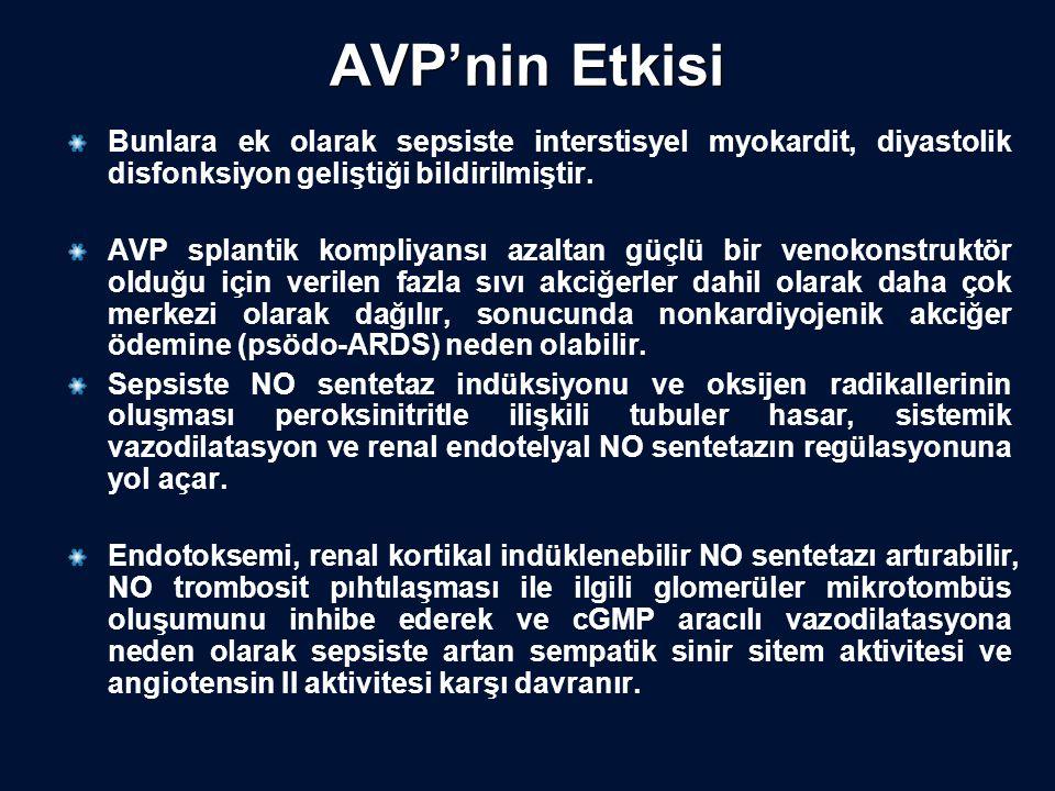 AVP'nin Etkisi Bunlara ek olarak sepsiste interstisyel myokardit, diyastolik disfonksiyon geliştiği bildirilmiştir.