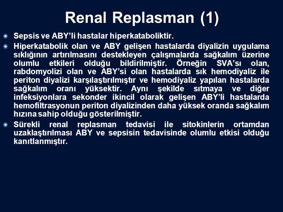 Renal Replasman (1) Sepsis ve ABY'li hastalar hiperkataboliktir.