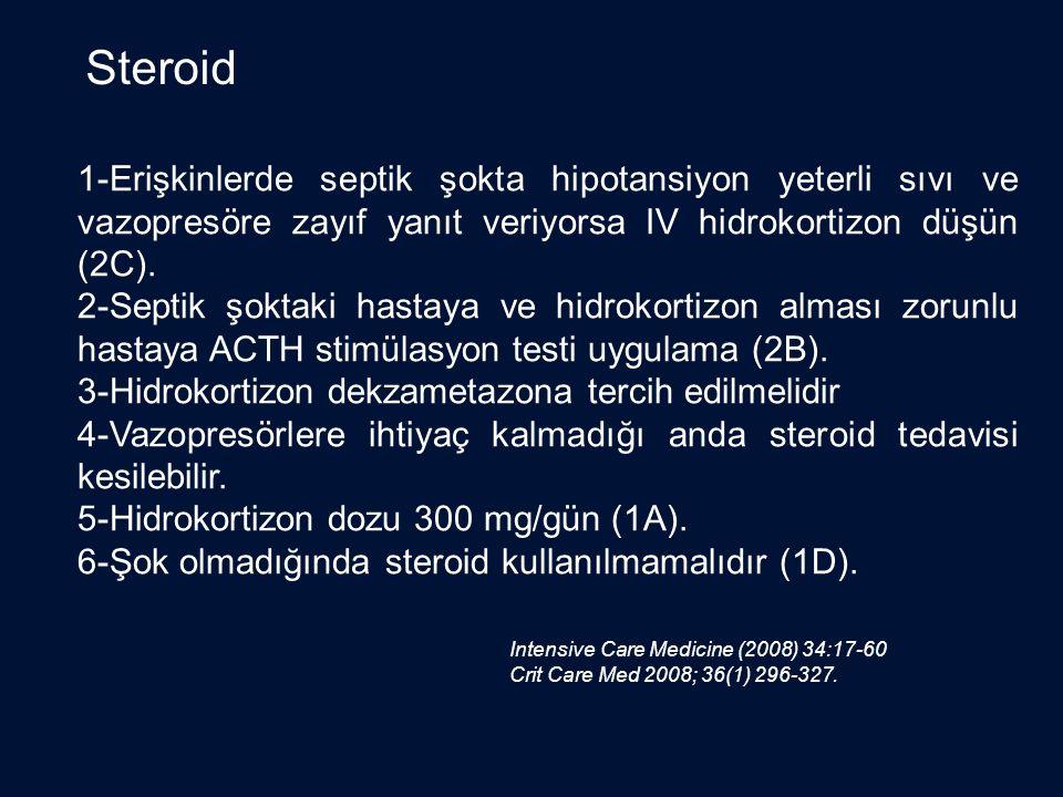 Steroid 1-Erişkinlerde septik şokta hipotansiyon yeterli sıvı ve vazopresöre zayıf yanıt veriyorsa IV hidrokortizon düşün (2C).