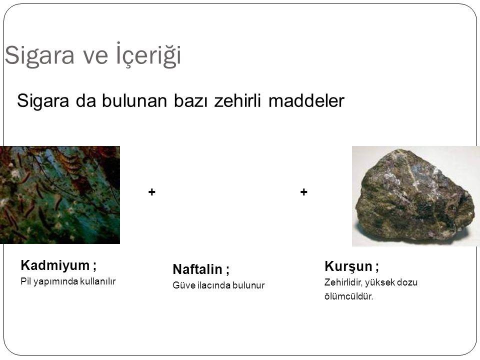 Sigara ve İçeriği Sigara da bulunan bazı zehirli maddeler + +