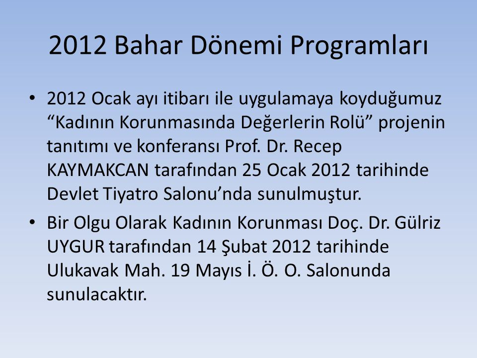 2012 Bahar Dönemi Programları
