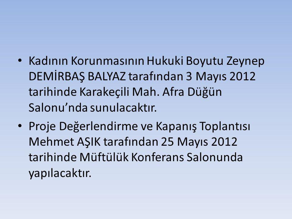 Kadının Korunmasının Hukuki Boyutu Zeynep DEMİRBAŞ BALYAZ tarafından 3 Mayıs 2012 tarihinde Karakeçili Mah. Afra Düğün Salonu'nda sunulacaktır.